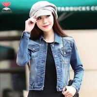 S M L XL Plus Size Spring Autumn Women Short Jeans Jacket Coat Long Sleeve Ladies Blue Denim Jackets Jaqueta Feminina J19241S