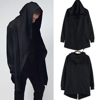 2015 новая коллекция весна мужская одежда толстовка с капюшоном мужчины капюшоном кардиган мантиссы черный плащ верхняя одежда негабаритных