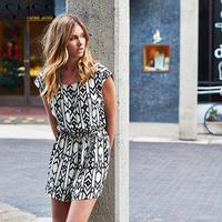 SMSS  2015  new spring and summer ofart van stripe printed round collar sleeveless chiffon dress