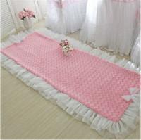 BD 2015 new romantic rose plush floor mat bedroom carpet living room pad sofa cushion pleated lace wedding decoration gift