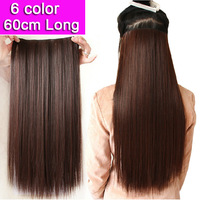 6 Colors 60cm Long Black Brown Blonde Women Hair Extensions 5 Clips In Straight High Temperature Lady Synthetic Hairs Hairpiece