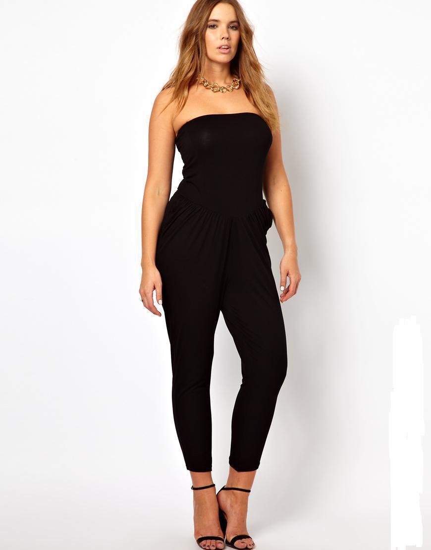 Sexy-Plus-Size-Women-Strapless-Jumpsuits-2015-Fat-Women-6XL-Black