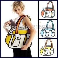 New Arrival comic cartoon 3d shoulder bag/ canvas handbag/ 2d messenger bag/ Free Shipping