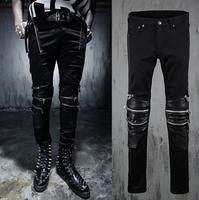 new fashion 2015  spring Autumn Punk style Retro Rock Splicing leather jeans men Unique multi-Zipper jeans men feet pants,M-2XL,