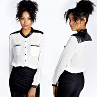 Blusas Femininas 2014 Fashion women blouses Long Sleeve PU Leather Blouse Camisa Feminina shirt Tops chiffon blouse C10