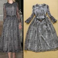 New 2015 Runway Fashion Snakeskin Pattern Print  Elegant Women Chiffon Midi Dress Novelty Dress Plus Size F16776