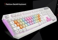 Daeryou Gaming Keyboard White body Rainbow Keycaps Purple/blue/red Backlight Backlit 19keys N Key Rollover USB Wired for PC
