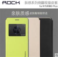Original Rock Touch Series Smart Window Flip PU Leather Case For Huawei Honor 6 Plus 6X ,MOQ:1PCS Free shipping