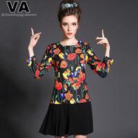 VA Brand 2015 Plus Size Women Spring Autumn Tulips Floral Print Casual Patchwork Black Pleated Mini  Dresses Clothing P00148