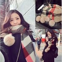 2014 new winter cute fur balls large plaid cashmere scarf ladies shawl,winter scarf ,women scarf