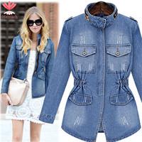 Plus Size Vintage Ladies Long Denim Jackets Spring Autumn 2015 Long Sleeve Blue Slim Jaquetas Jeans Jacket Women Coat J19261S