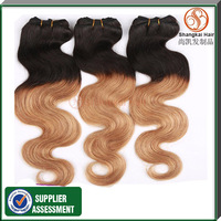 Omber Hair Hot Selling Brazilian Human Hair Weft 1B/#27 Two Tones Color Hair Weft Body Wave Free Shipping