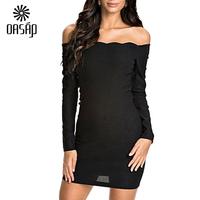 OASAP Women Wavy Off-shoulder Long sleeve Black Mini Dress Vestido Verao Women Clothing