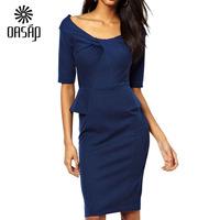 OASAP Women Blue Peplum Dress with Twist Detail Peplum Summer Dress Vestidos Roupas Femininas 2015 Ropa Mujer Free Shipping