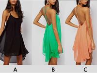 2015 Sale Vestidos De Fiesta Winter Dress Sexy Back Thin Straps Cross Hollow Solid Metal Buckle Sleeveless Chiffon Dress L78