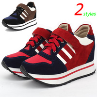Red Stripe Color Matching Fashion Sneakers,Platform Shoes,Suede 2 styles,Size 35~39,Hidden Height Increasing 5cm,Women`s Shoes