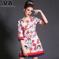 VA  Women Fashion Brand Plus Size Cherry Peach Spring O Neck Casual Print Dress Clothing  2015 New vestidos femininos 5XL P00144