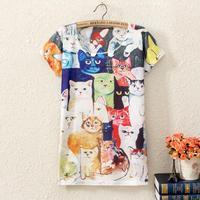20 Styles 2015 New Summer Fashion Women T Shirt Casual Short Sleeve T-shirt Lovely Cat Animal Cartoon Print Women's Shirts