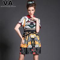 VA Women 2015 Summer Spring High Quality Patterns Print Casual Turn-Down Collar Vintage Dresses vestidos femininos 4XL 5XL P0157