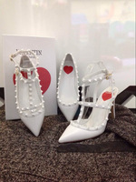 2015 Spring Red Love Heart Pointed Toe Rivets White High heels,V Brand Designer T-Strap Genuine Leather Pumps Women Dress Shoes