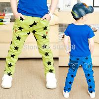 2015 Spring Baby Children Cotton Pants Boys Star Print Stretch Long Pants #7013 Kids Clothing Free Shipping 5 PCS