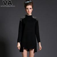 Brand Women 2015 Spring High Street Fashion Casual Vintage Black Mini Office Work Vestidos Dresses Plus Size 4XL 5XL W00619
