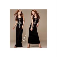 2015 New Direct Selling Vestidos De Fiesta Women Summer Dress Korean Unique National Totem Outgoing Long Knee Vest Dress 120