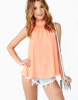2015 Free Shipping Fashion New Hot Sell Shirt Sleeveless Chiffon Blouse Casual Loose Shirt Sexy Top Women Chiffon Shirt