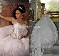 Sexy Corset Beading Princess Long Embroidery Lace Wedding Dresses 2015 Vestidos De Noiva Appliques Bridal Gown Sheer Back