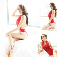 2015 NEW HOT One-Piece Swimming Suit White O Rings Detail Halter Nylon Women red Sey Swimwears Backless One Pieces Swimsuit 20