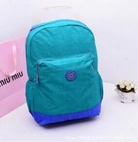 2015 New Hot Nylon Kiple School Backpack PC bag Double Shoulder bag Women Girl Travel bag Solid Color Quality Free shipping