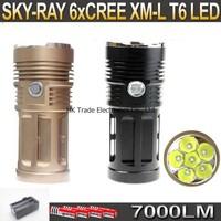 SKY RAY King 7000 Lumens 6xCREE XM-L T6 3-mode LED Flashlight 6T6 Torch + 4 * 3000Mah 18650 Battery + Charger
