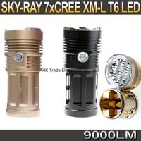 20sets,SKY RAY 7 x CREE XM-L T6 9000LM 3-Mode LED flashlight Waterproof high power torch Hiking camping lantern lamp