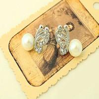 fashion Rhinestone pearl butterfly ear stud earrings