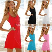European and American beach ice silk dresses Halter bikini outside smock cover-ups 10 colors Resort dresses