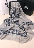 Retro blue and white fringed scarf national wind circle padded sun visor scarf shawl,Free shipping
