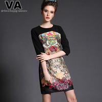 VA Brand 2015 Women Print Sexy Patchwork O Neck Plus Size Summer Black Office Work Dress vestidos femininos Cltohing P00146