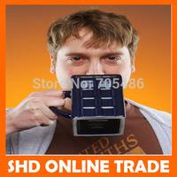 Free Shipping 1Pcs Doctor Who 17 oz Figural Tardis Porcelain Mug Coffee Cup Police Box Shape