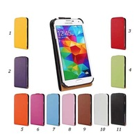 100pcs/lot Free Shipping Vertical Flip Genuine Real Leather Case For Samsung Galaxy S5 i9600