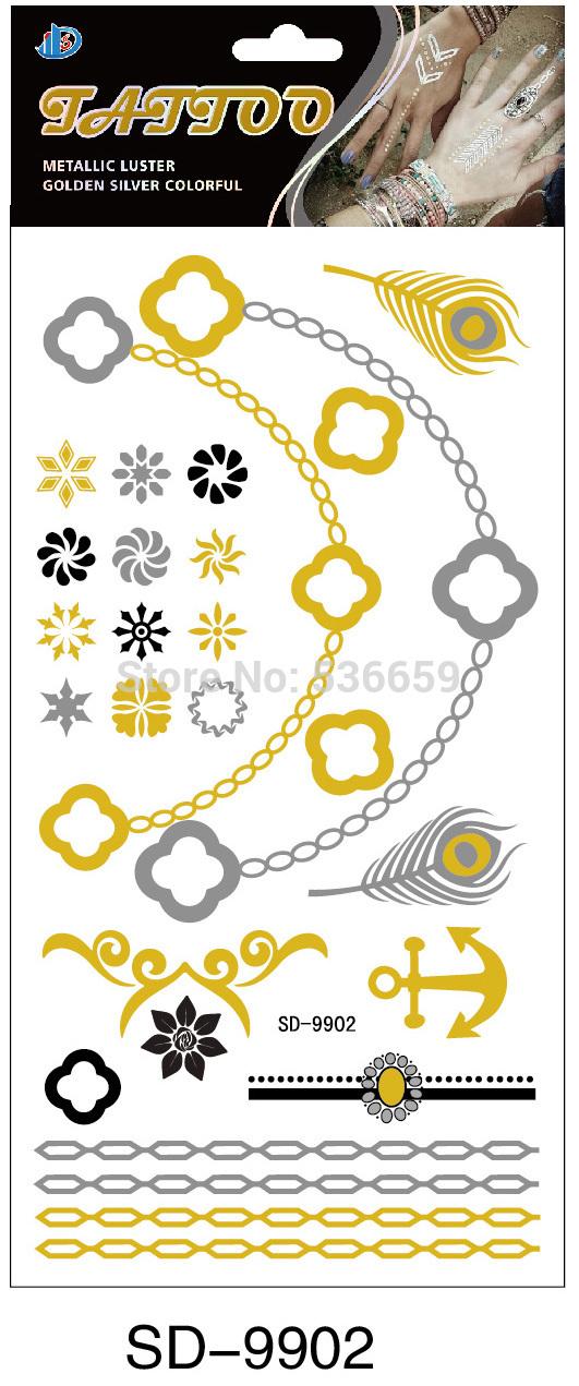 2015 10.5*21cm Body Art Flash Gold Metallic Tattoolarge Temporary Waterproof Snowflake Tattoo Paste Hand Lace Bracelets Glitter(China (Mainland))