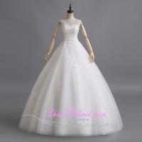 Vestido De Noiva 2014 Romantic Stock Size 2 to12 White/Ivory Cheap Wedding Dress Vestido De Casamento Bridal Gown Casamento