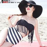 new 2015 Vintage Fringe high waist bikini Biquinis women Striped bikinis set triangl swimsuit swimwear bathing suits for women