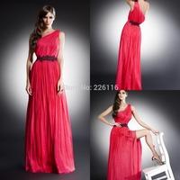 2014 Sale Vestido Cheap Arrival Free Evening Dresses One-shoulder Floor-length Applique With Belt Chiffon Sleeveless_bridalk