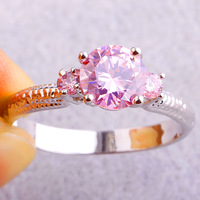 2015 Apollonian Jewelry For Women Pink Sapphire 925 Silver Ring Size 8 Fashion Gift  Free Shipping Wholesale