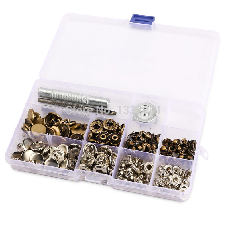 15mm Snap Fastener Press Stud Buttons Poppers Leather Craft + Fixings Tools Kit(China (Mainland))