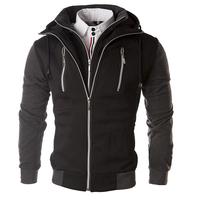 Fashion casual 2015 Spring Men's Zipper design fake piece Collision color hooded Sweatshirts Men casual Slim Outerwear