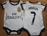 New Arrival!Real Madrid Baby soccer jersey Rompers kids jerseys,#7 Ronaldo ONE-Piece Newborn infant BB football shirt sportswear