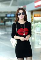 Hot Sale!! Women Winter Dress 2015 New Fashion Pure Color Casual Dress Long Sleeve Autumn Dresses M-5XL