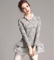 2015 Spring Winter shirt Women clothing tops Slim Chiffon Lace long sleeve thick blouses blouse roupas camisas blusas femininas