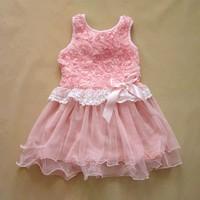 EMS DHL Free shipping little Toddler girls kids Princess Summer Lace Sweet Dress rosette Casual dress Flower Princess dress